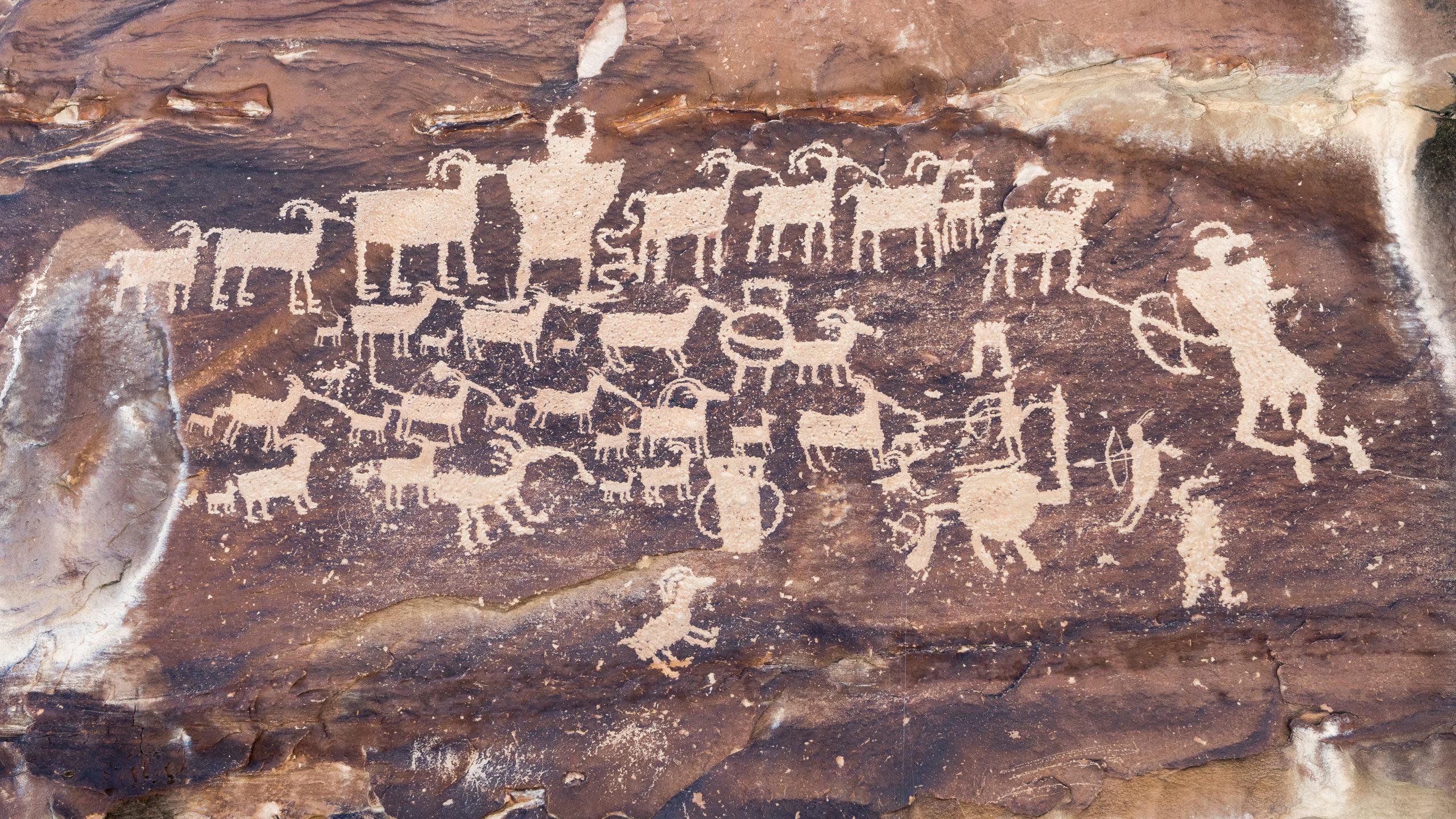 Fremont Indian petroglyphs in Ashley National Forest
